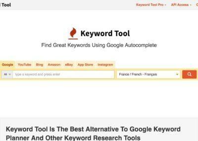 KeywordTool.io : Générateur de mots clés pour Google, YouTube & Amazon.