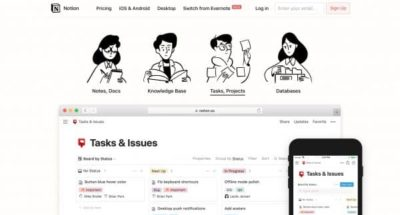 Notion : Centralisez & partagez les connaissances, les tâches et les contenus produits par votre équipe.